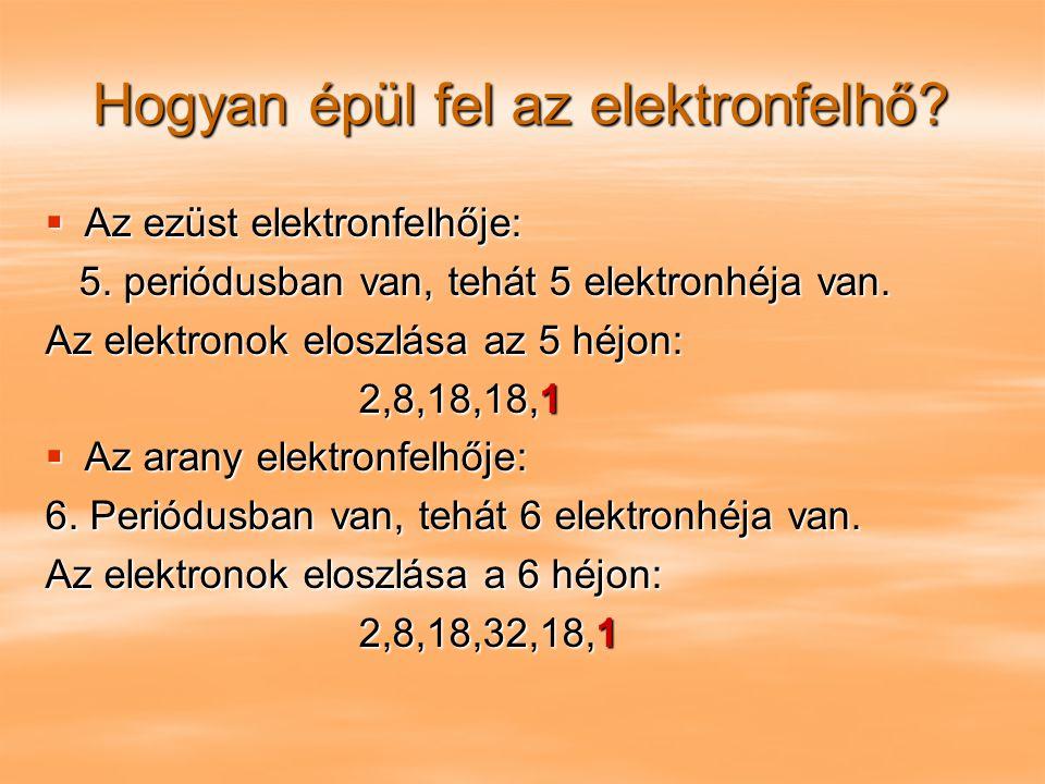 Hogyan épül fel az elektronfelhő?  Az ezüst elektronfelhője: 5. periódusban van, tehát 5 elektronhéja van. 5. periódusban van, tehát 5 elektronhéja v