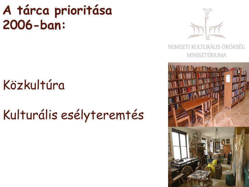 A tárca prioritása 2006-ban: Közkultúra Kulturális esélyteremtés