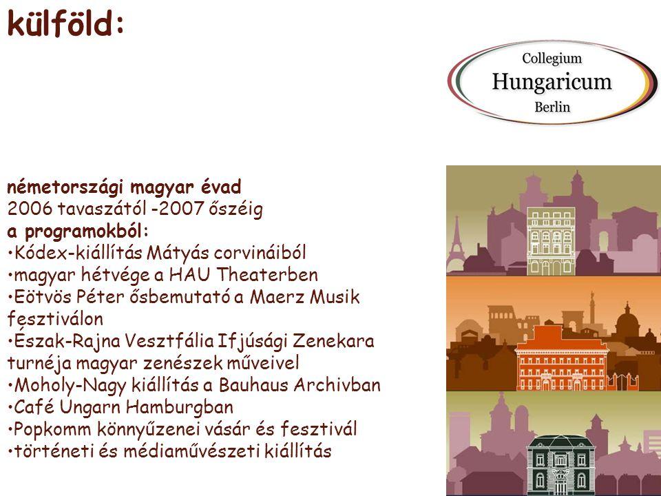 külföld: németországi magyar évad 2006 tavaszától -2007 őszéig a programokból: •Kódex-kiállítás Mátyás corvináiból •magyar hétvége a HAU Theaterben •E