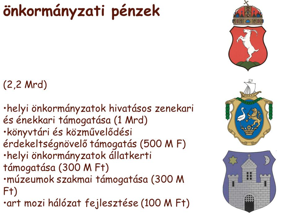 önkormányzati pénzek (2,2 Mrd) •helyi önkormányzatok hivatásos zenekari és énekkari támogatása (1 Mrd) •könyvtári és közművelődési érdekeltségnövelő t