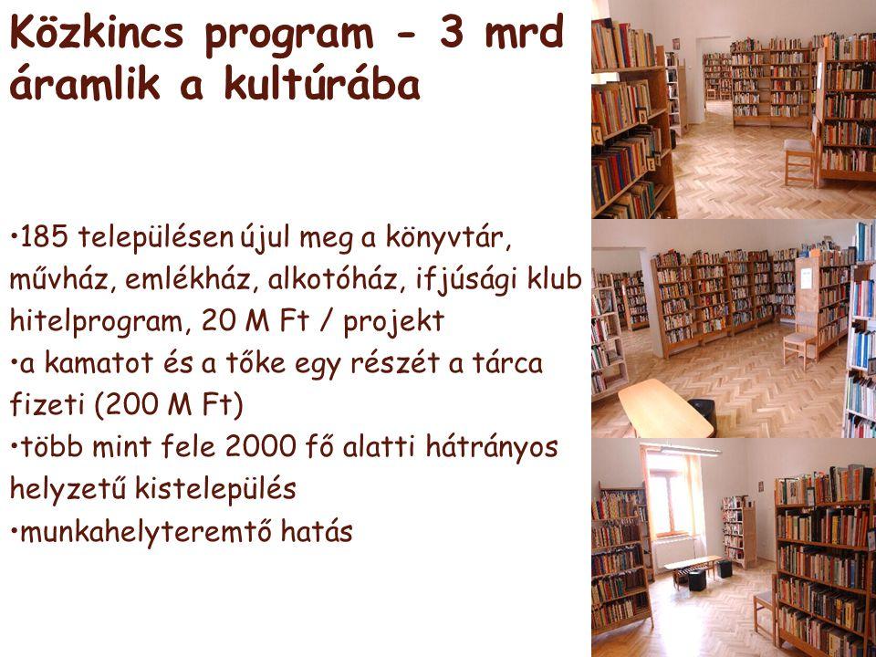 önkormányzati pénzek (2,2 Mrd) •helyi önkormányzatok hivatásos zenekari és énekkari támogatása (1 Mrd) •könyvtári és közművelődési érdekeltségnövelő támogatás (500 M F) •helyi önkormányzatok állatkerti támogatása (300 M Ft) •múzeumok szakmai támogatása (300 M Ft) •art mozi hálózat fejlesztése (100 M Ft)