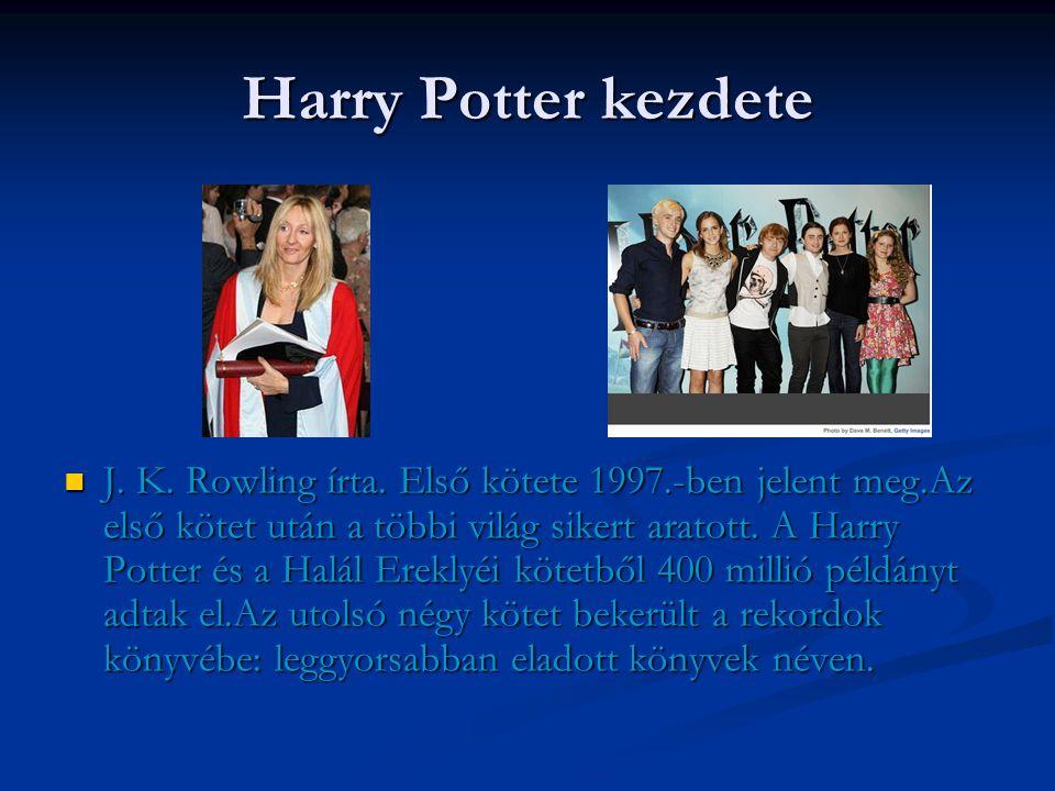 Harry Potter története  A sorozat főhőse egy kamasz varázsló, Harry Potter, és az ő barátai, Ron Weasley és Hermione Granger, akik a Roxfort Boszorkány- és Varázslóképző Szakiskola tanulói.