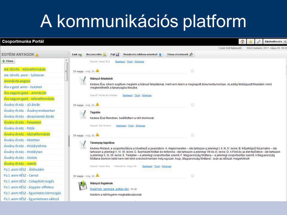 A kommunikációs platform