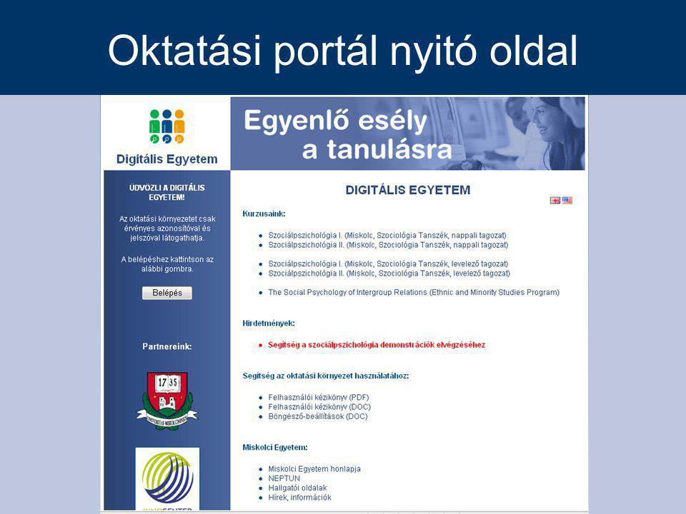 Oktatási portál nyitó oldal