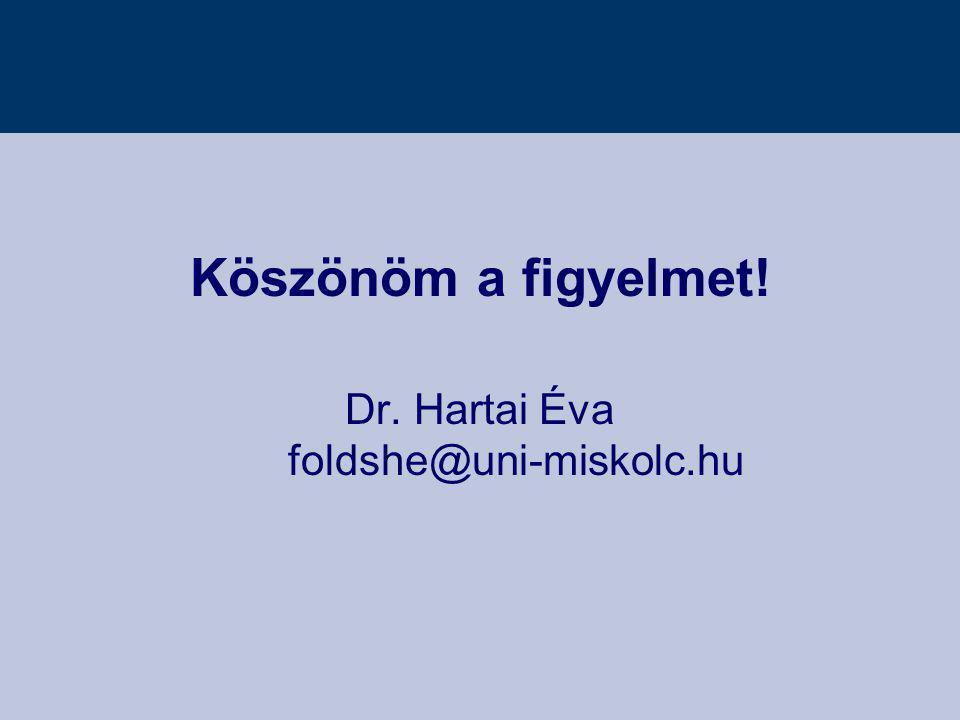 Köszönöm a figyelmet! Dr. Hartai Éva foldshe@uni-miskolc.hu