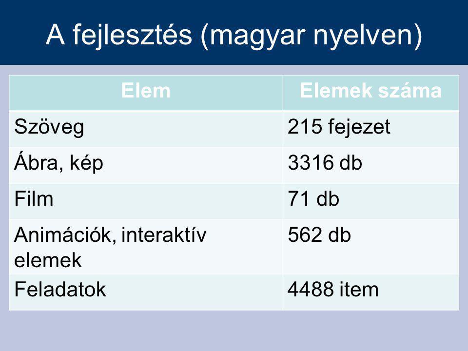 A fejlesztés (magyar nyelven) ElemElemek száma Szöveg215 fejezet Ábra, kép3316 db Film71 db Animációk, interaktív elemek 562 db Feladatok4488 item
