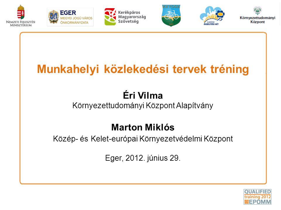 Munkahelyi közlekedési tervek tréning Éri Vilma Környezettudományi Központ Alapítvány Marton Miklós Közép- és Kelet-európai Környezetvédelmi Központ E