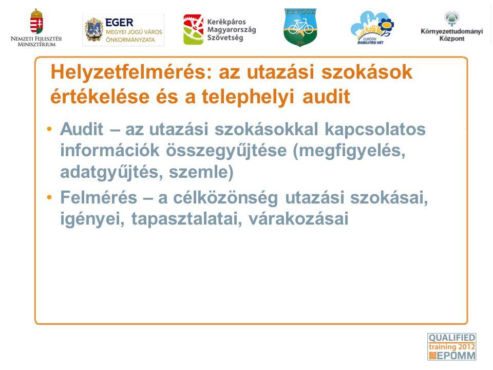 Helyzetfelmérés: az utazási szokások értékelése és a telephelyi audit •Audit – az utazási szokásokkal kapcsolatos információk összegyűjtése (megfigyel