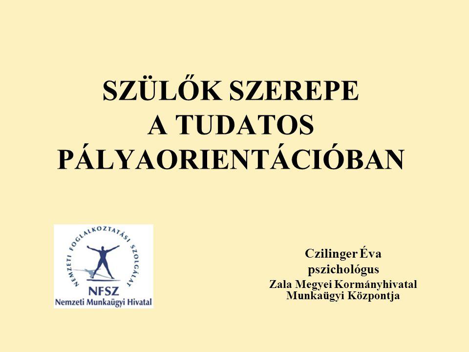 SZÜLŐK SZEREPE A TUDATOS PÁLYAORIENTÁCIÓBAN Czilinger Éva pszichológus Zala Megyei Kormányhivatal Munkaügyi Központja