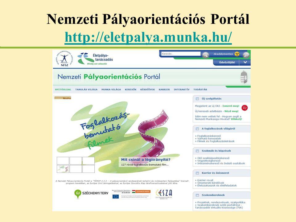 Nemzeti Pályaorientációs Portál http://eletpalya.munka.hu/ http://eletpalya.munka.hu/