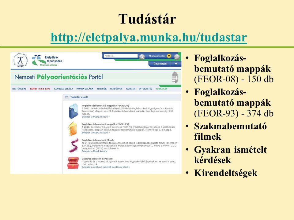 Tudástár http://eletpalya.munka.hu/tudastar http://eletpalya.munka.hu/tudastar • Foglalkozás- bemutató mappák (FEOR-08) - 150 db • Foglalkozás- bemuta