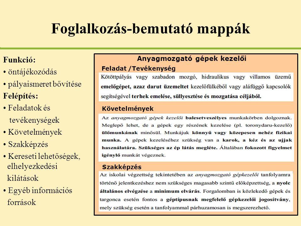 Foglalkozás-bemutató mappák Funkció: • öntájékozódás • pályaismeret bővítése Felépítés: • Feladatok és tevékenységek • Követelmények • Szakképzés • Ke