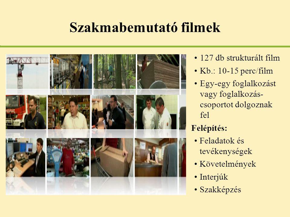 Szakmabemutató filmek •127 db strukturált film •Kb.: 10-15 perc/film •Egy-egy foglalkozást vagy foglalkozás- csoportot dolgoznak fel Felépítés: •Felad