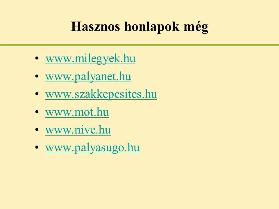 Hasznos honlapok még •www.milegyek.huwww.milegyek.hu •www.palyanet.huwww.palyanet.hu •www.szakkepesites.huwww.szakkepesites.hu •www.mot.huwww.mot.hu •