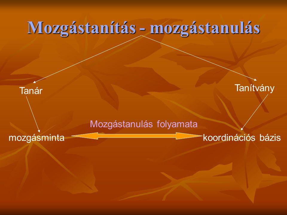 Mozgástanítás - mozgástanulás Tanár mozgásminta Tanítvány koordinációs bázis Mozgástanulás folyamata