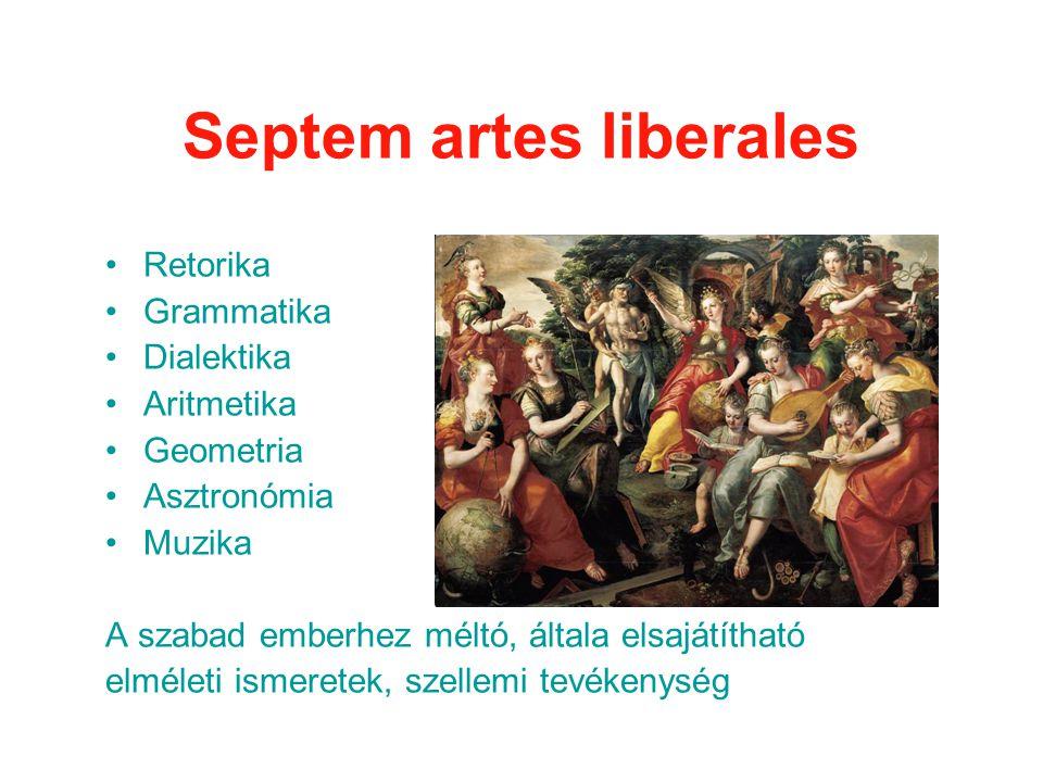 Septem artes liberales •Retorika •Grammatika •Dialektika •Aritmetika •Geometria •Asztronómia •Muzika A szabad emberhez méltó, általa elsajátítható elméleti ismeretek, szellemi tevékenység