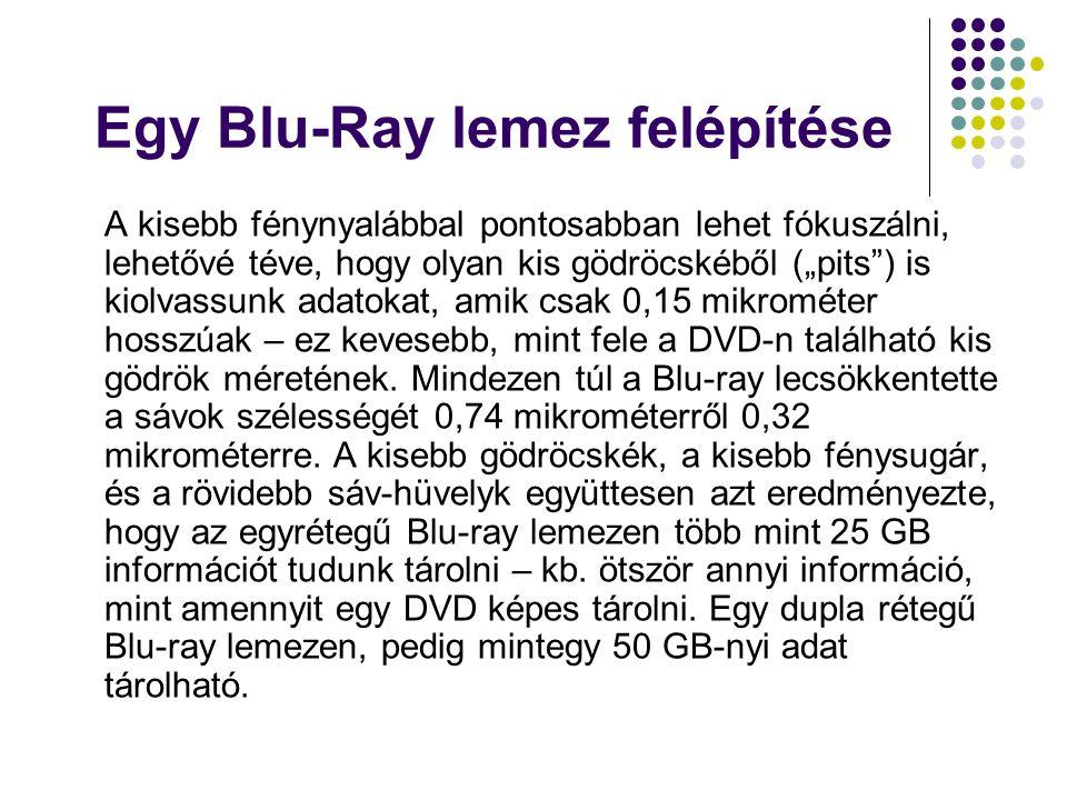 """Egy Blu-Ray lemez felépítése A lemezek a digitálisan kódolt videó és audió információt """"gödrök -ben tárolja."""