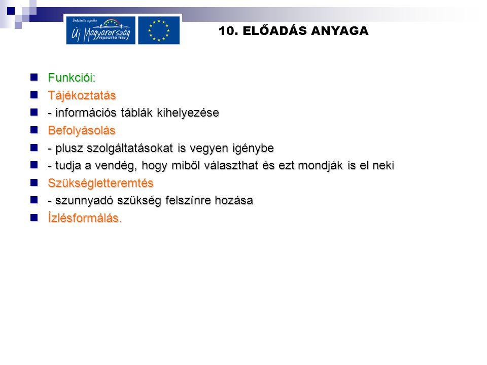 10. ELŐADÁS ANYAGA  Funkciói:  Tájékoztatás  - információs táblák kihelyezése  Befolyásolás  - plusz szolgáltatásokat is vegyen igénybe  - tudja