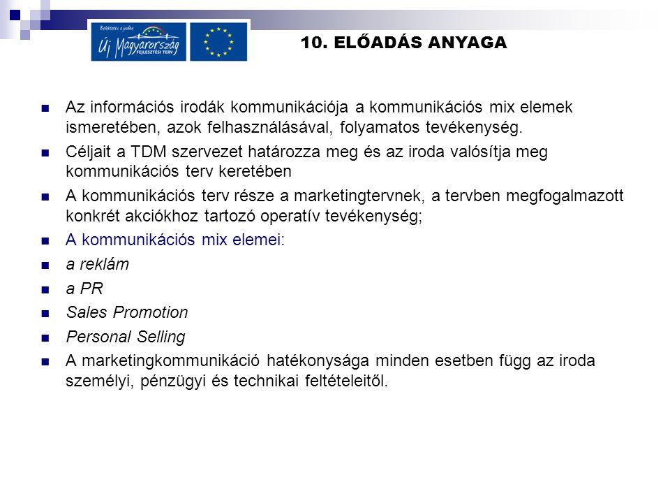 10. ELŐADÁS ANYAGA  Az információs irodák kommunikációja a kommunikációs mix elemek ismeretében, azok felhasználásával, folyamatos tevékenység.  Cél