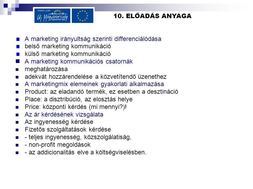 10. ELŐADÁS ANYAGA A marketing irányultság szerinti differenciálódása belső marketing kommunikáció külső marketing kommunikáció  A marketing kommunik