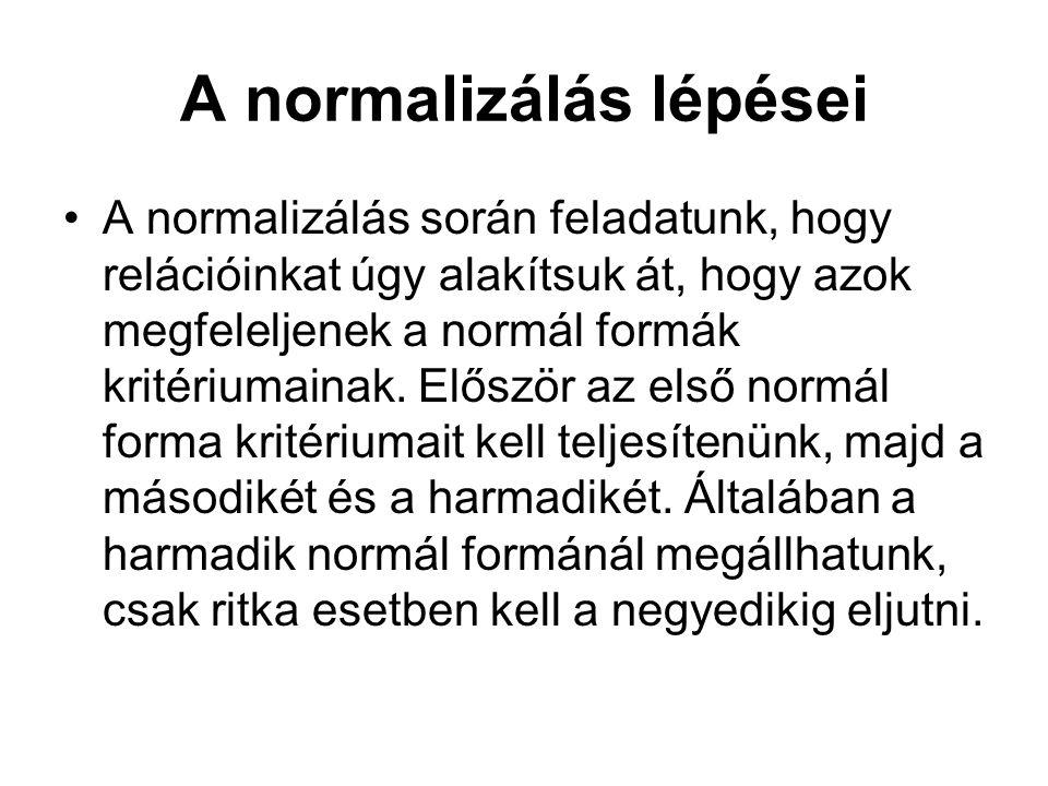 A normalizálás lépései •A normalizálás során feladatunk, hogy relációinkat úgy alakítsuk át, hogy azok megfeleljenek a normál formák kritériumainak.