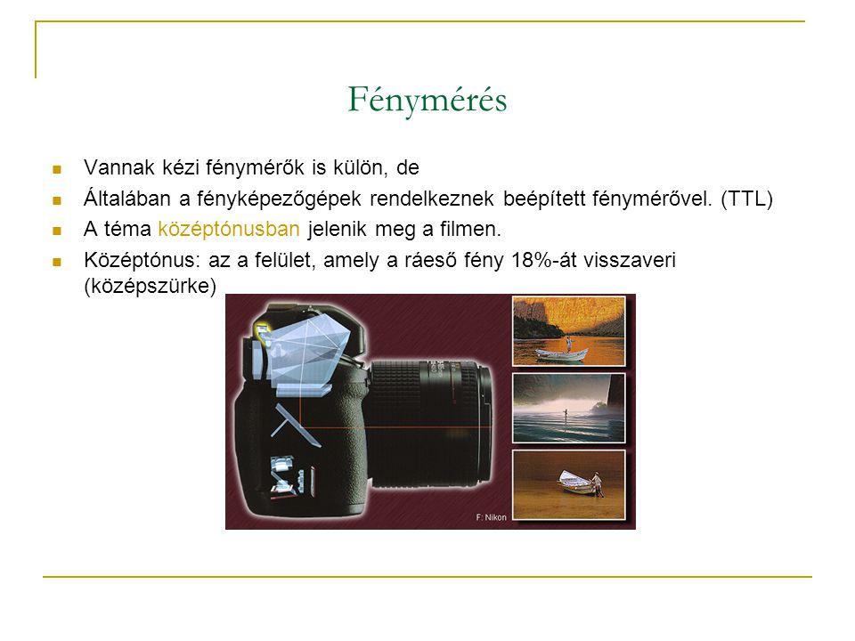 Fénymérés  Vannak kézi fénymérők is külön, de  Általában a fényképezőgépek rendelkeznek beépített fénymérővel.