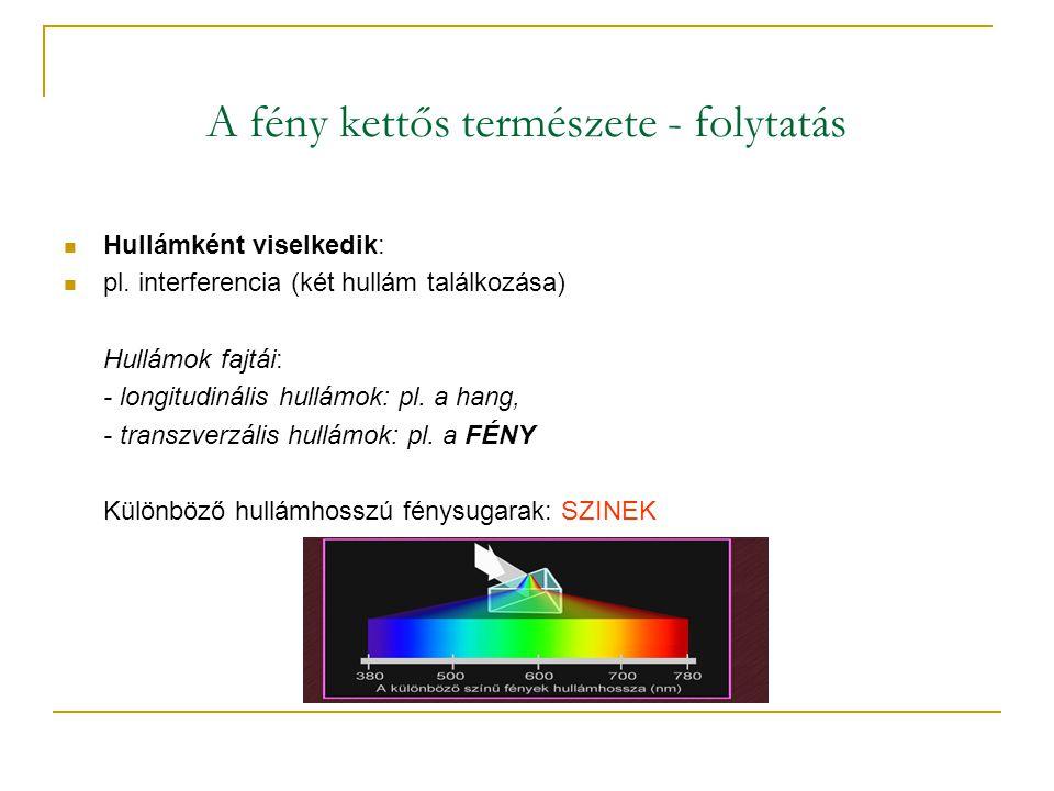 A fény kettős természete - folytatás  Hullámként viselkedik:  pl.