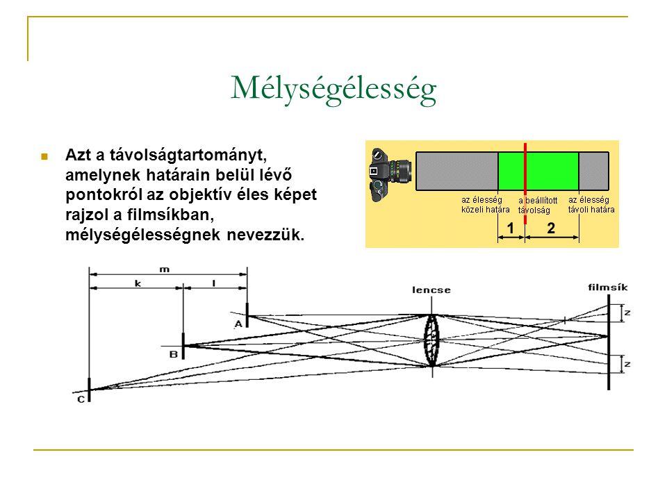Mélységélesség  Azt a távolságtartományt, amelynek határain belül lévő pontokról az objektív éles képet rajzol a filmsíkban, mélységélességnek nevezzük.