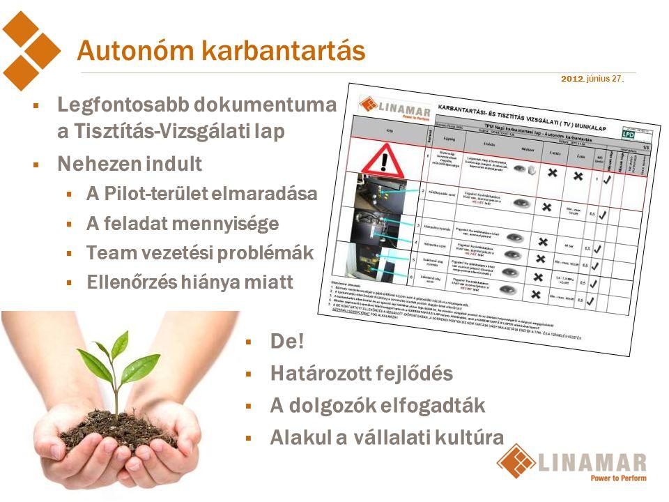 2012. június 27. Autonóm karbantartás  Legfontosabb dokumentuma a Tisztítás-Vizsgálati lap  Nehezen indult  A Pilot-terület elmaradása  A feladat