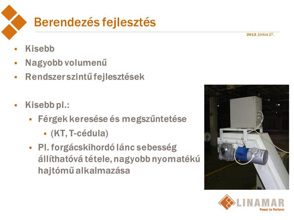 2012. június 27. Berendezés fejlesztés  Kisebb  Nagyobb volumenű  Rendszer szintű fejlesztések  Kisebb pl.:  Férgek keresése és megszűntetése  (