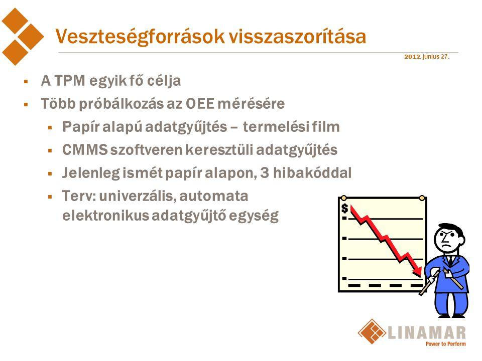 2012. június 27. Veszteségforrások visszaszorítása  A TPM egyik fő célja  Több próbálkozás az OEE mérésére  Papír alapú adatgyűjtés – termelési fil