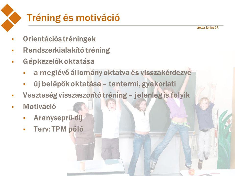 2012. június 27. Tréning és motiváció  Orientációs tréningek  Rendszerkialakító tréning  Gépkezelők oktatása  a meglévő állomány oktatva és vissza