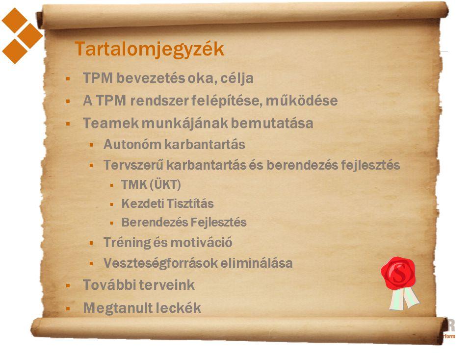 2012. június 27. Tartalomjegyzék  TPM bevezetés oka, célja  A TPM rendszer felépítése, működése  Teamek munkájának bemutatása  Autonóm karbantartá
