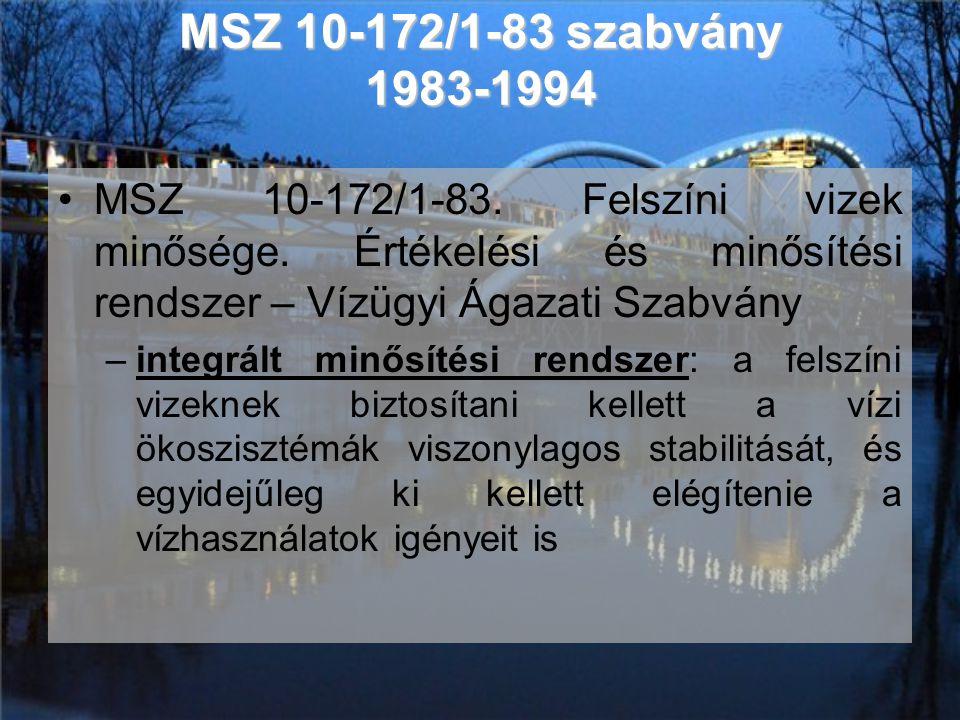 MSZ 10-172/1-83 szabvány 1983-1994 •MSZ 10-172/1-83. Felszíni vizek minősége. Értékelési és minősítési rendszer – Vízügyi Ágazati Szabvány –integrált