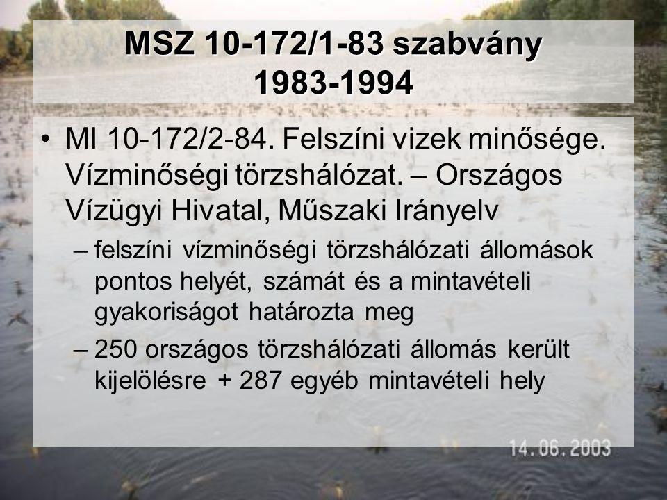 MSZ 10-172/1-83 szabvány 1983-1994 •MI 10-172/2-84. Felszíni vizek minősége. Vízminőségi törzshálózat. – Országos Vízügyi Hivatal, Műszaki Irányelv –f