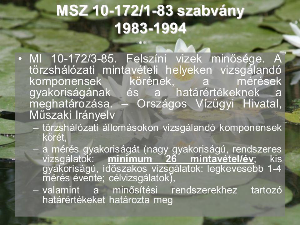 MSZ 10-172/1-83 szabvány 1983-1994 •MI 10-172/3-85. Felszíni vizek minősége. A törzshálózati mintavételi helyeken vizsgálandó komponensek körének, a m