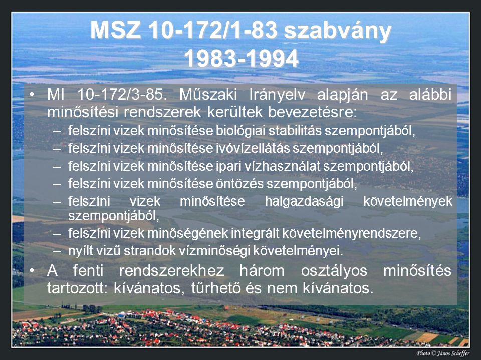MSZ 10-172/1-83 szabvány 1983-1994 •MI 10-172/3-85. Műszaki Irányelv alapján az alábbi minősítési rendszerek kerültek bevezetésre: –felszíni vizek min