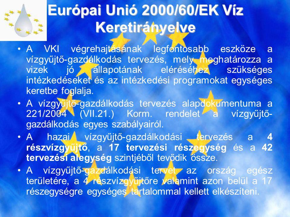 Európai Unió 2000/60/EK Víz Keretirányelve •A VKI végrehajtásának legfontosabb eszköze a vízgyűjtő-gazdálkodás tervezés, mely meghatározza a vizek jó állapotának eléréséhez szükséges intézkedéseket és az intézkedési programokat egységes keretbe foglalja.