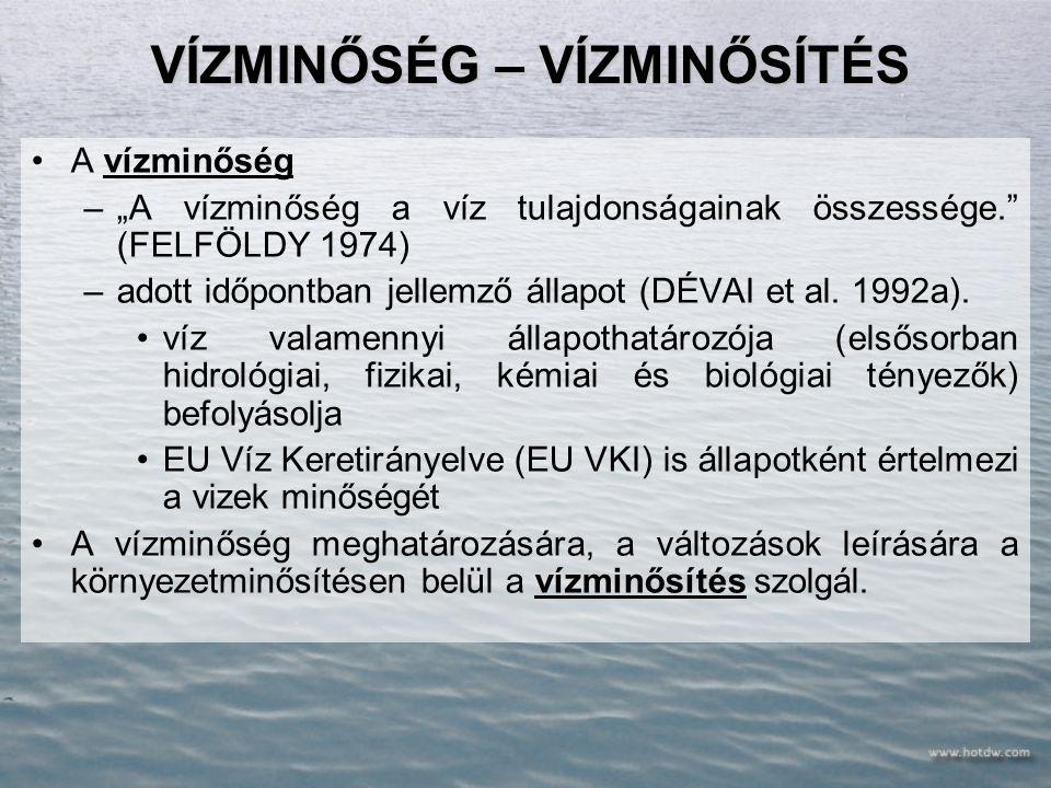 A FELSZÍNI VÍZTÉR ÁLLAPOTA Kémiai paraméterek Besorolás biológiai elemek hidrológiai és morfológiai elemek fizikai és általános kémiai elemek fizikai és általános kémiai elemek Specifikus szennyezők Állapotjellemzők 5 osztály biológiai állapot hidrológiai morfológiai állapot Az ökológiai állapotot befolyásoló kémiai állapot Az ökológiai állapotot befolyásoló kémiai állapot ökológiai állapot 5 osztály kémiai állapot 2 osztály VKI MINŐSÍTÉS: VÍZTEREK ÁLLAPOTÁNAK JELLEMZÉSE