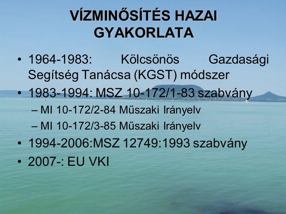 MSZ 12749:1993 szabvány 1994-2006 •A fenti fő- és alcsoportokba összesen 76 különböző fizikai, kémiai és biológiai változó tartozik.