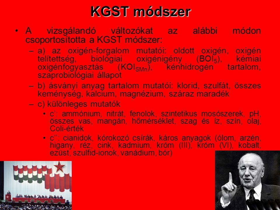 KGST módszer •A vizsgálandó változókat az alábbi módon csoportosította a KGST módszer: –a) az oxigén-forgalom mutatói: oldott oxigén, oxigén telítetts