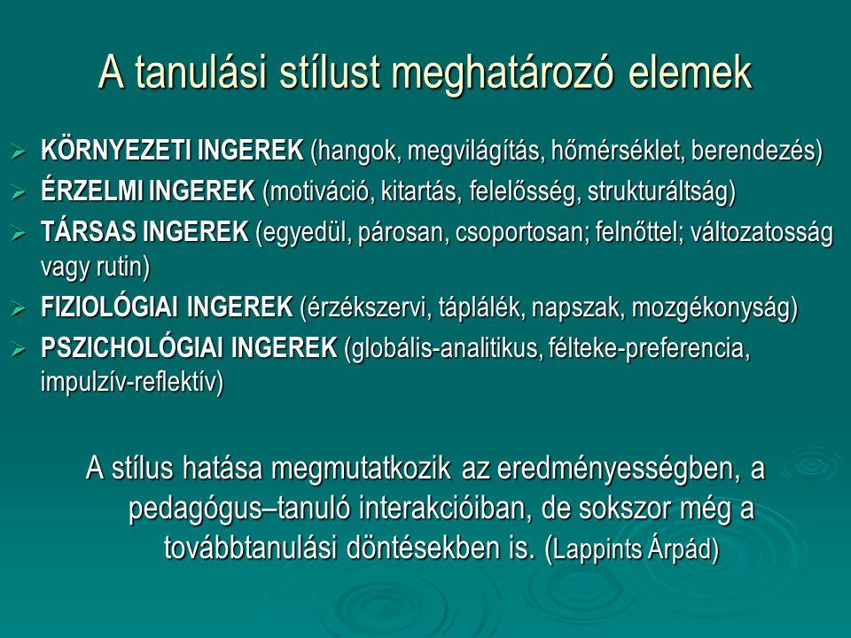 A tanulási stílust meghatározó elemek  KÖRNYEZETI INGEREK (hangok, megvilágítás, hőmérséklet, berendezés)  ÉRZELMI INGEREK (motiváció, kitartás, fel