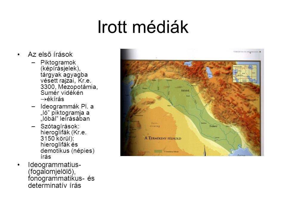 Irott médiák •Az első írások –Piktogramok (képírásjelek), tárgyak agyagba vésett rajzai, Kr.e. 3300, Mezopotámia, Sumér vidékén  ékírás –Ideogrammák