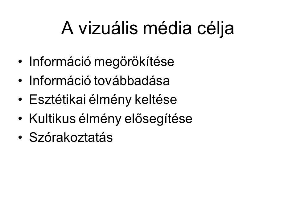 A vizuális média célja •Információ megörökítése •Információ továbbadása •Esztétikai élmény keltése •Kultikus élmény elősegítése •Szórakoztatás