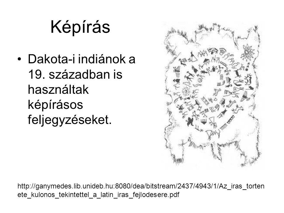Képírás •Dakota-i indiánok a 19. században is használtak képírásos feljegyzéseket. http://ganymedes.lib.unideb.hu:8080/dea/bitstream/2437/4943/1/Az_ir