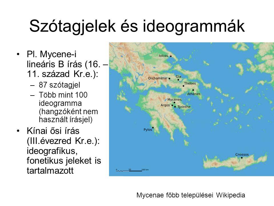 Szótagjelek és ideogrammák •Pl. Mycene-i lineáris B írás (16. – 11. század Kr.e.): –87 szótagjel –Több mint 100 ideogramma (hangzóként nem használt ír