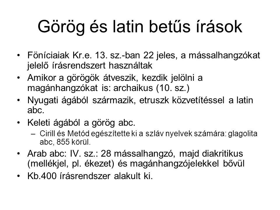 Görög és latin betűs írások •Föníciaiak Kr.e. 13. sz.-ban 22 jeles, a mássalhangzókat jelelő írásrendszert használtak •Amikor a görögök átveszik, kezd