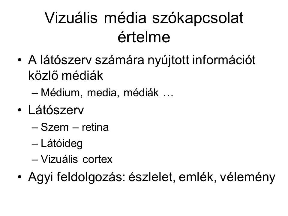 Vizuális média szókapcsolat értelme •A látószerv számára nyújtott információt közlő médiák –Médium, media, médiák … •Látószerv –Szem – retina –Látóide