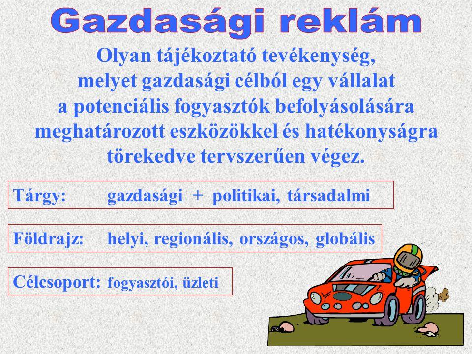 3 Reklámhordozó:médium (kommunikációs csatorna) Reklámeszköz:kódolt üzenet (pl.