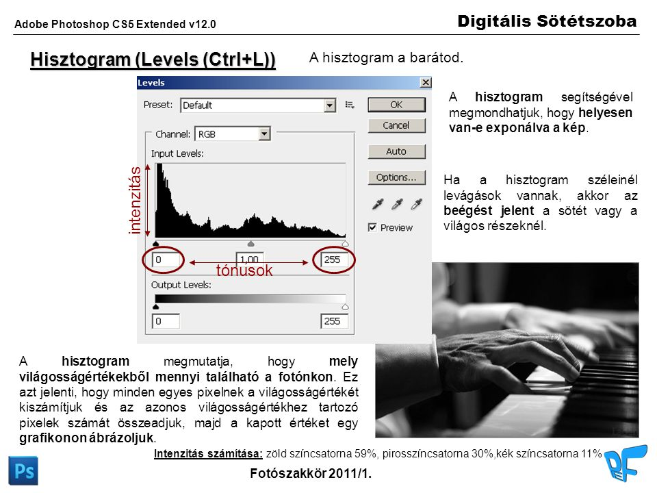 Digitális Sötétszoba Adobe Photoshop CS5 Extended v12.0 Fotószakkör 2011/1. Hisztogram (Levels (Ctrl+L)) A hisztogram a barátod. tónusok intenzitás In